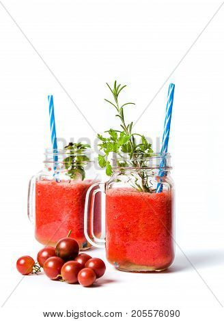 Homemade Tomato Smoothie In Glass Jars