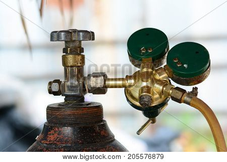 The Oxygen Tank And Brass Valve  For Medical And Industry