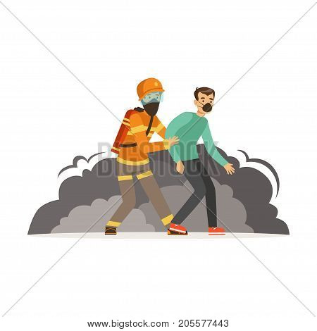 Fireman character in uniform and protective helmet rescuing a man, firefighter at work vector illustration isolated on a white background