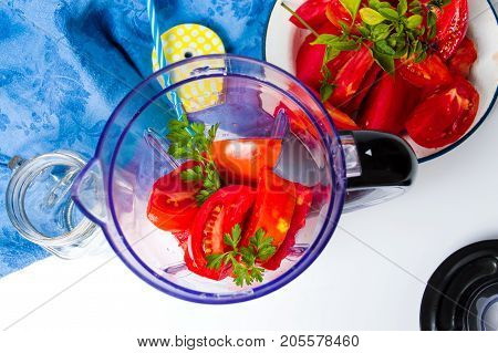 Tomato Slices In A Blender For A Smoothie