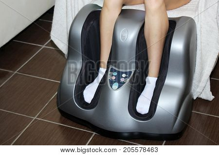 Electric massage foot bath. Relax after work.