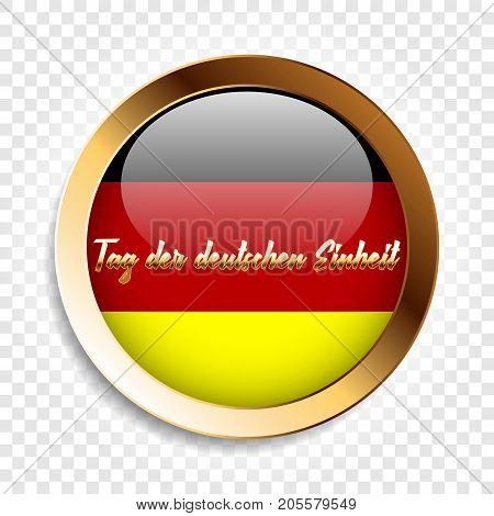 The day of german unity gold label with german flag, vector illustration on a transparent background