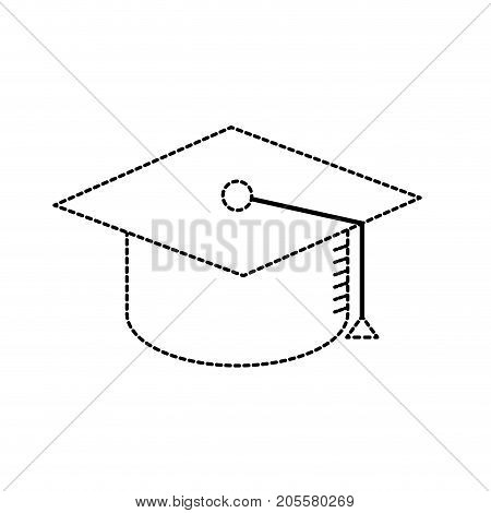 dotted shape cap graduation to ceremony sucess vector illustration