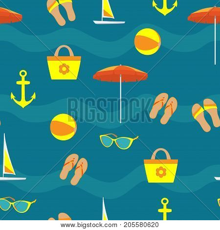 Summer Vacation Accessories In Flat Style On Blue Background, Seamless Pattern. Slippers, Sun Glasse