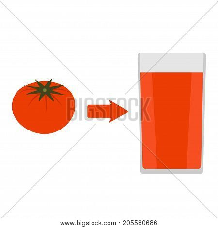 Fresh Tomato And A Glass Of Tomato Juice Around. The Arrow In The Direction From The Tomato To Juice
