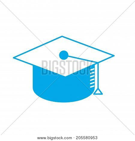 silhouette cap graduation to ceremony sucess vector illustration