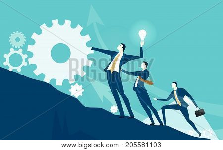 Businessmen and his team rolling the gear up to the mountain peak. Winning, leading and delivering concept illustration