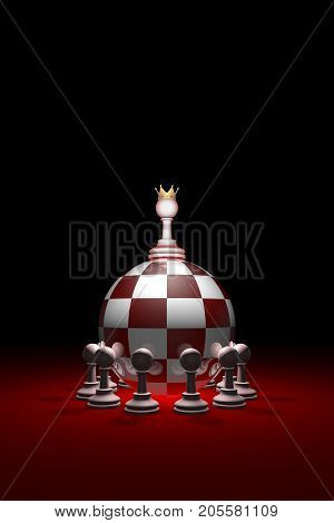 Chess composition (presidential elections). Monarchy. Power without oppositions. Background layout with free text space. 3D illustration render