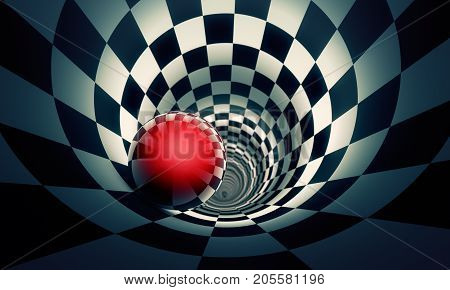 Perspective and predetermination. Red ball in a chess tunnel (concept image). The space and time. 3D illustration. Available in high-resolution and several sizes to fit the needs of your project.
