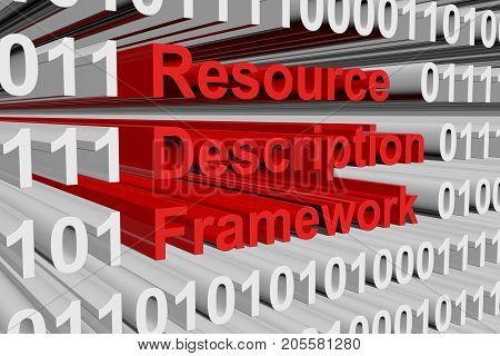 Resource Description Framework in the form of binary code, 3D illustration