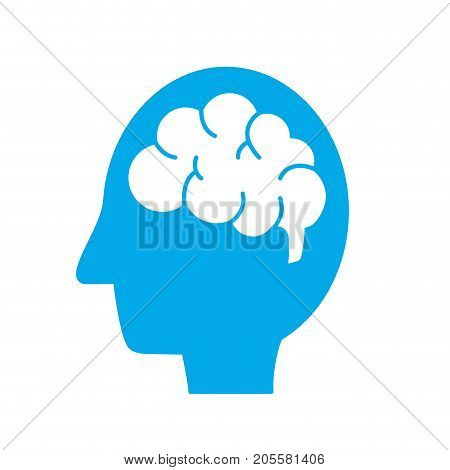 silhouette side man with anatomy brain vector illustration