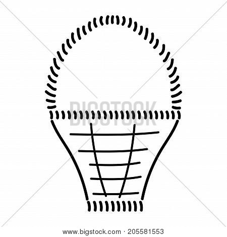 Empty basket sign. Image of handmade weave. Black icon isolated on white background. Wicker basket symbol. Logo for rural. Drawn decoration content. Mark of pottle. Stock vector illustration