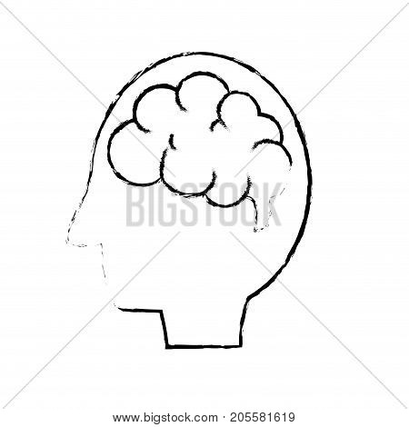 figure side man with anatomy brain vector illustration