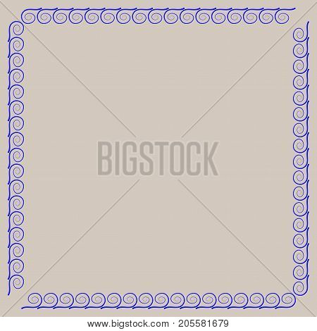 Frame blue. Decoration concept. Border from waves. Color framework isolated on gray background. Modern art scoreboard. Decoration banner rim. Stock vector illustration