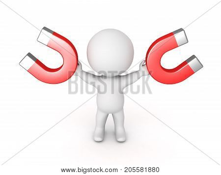 3D Character holding to big horseshoe magnets in his hands. Isolated on white.