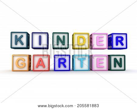 3D Illustration Of Toy Blocks Placed On Two Layers  Saying Kindergarten
