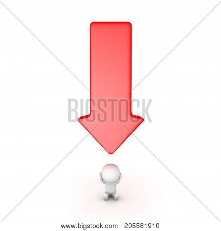 3D Character stressed with a big red arrow pointing down at him. Isolated on white.