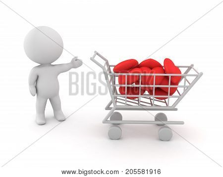 3D Character showing a shopping cart filled with hearts. Isolated on white.