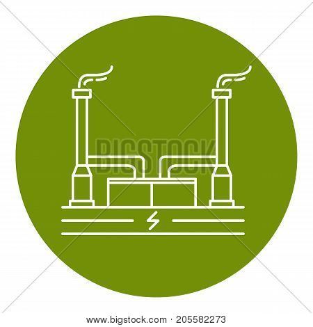 Outline geothermal power plant icon in round frame. Alternative renewable energy concept symbol in thin line style.