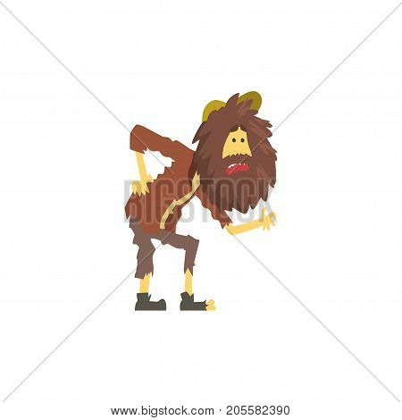 Dirty and sick homeless man character, unemployment person needing help vector illustration isolated on a white background