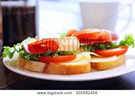 Breakfast With Sandwich And Coffee