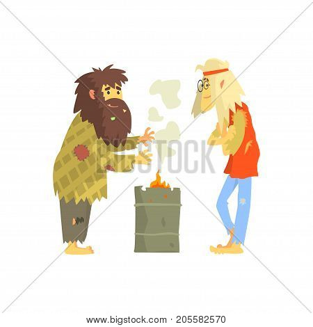 Homeless men warming themselves near the fire, unemployment people needing help vector illustration isolated on a white background