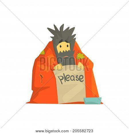 Dirty homeless man character wrapped in a blanket holding signboard asking for help, unemployment man needing help vector illustration isolated on a white background