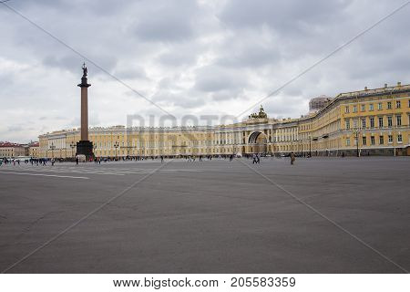 The General Staff building - a historic building is located on the Palace Square in St. Petersburg September 14 2016 St. Petersburg Russia