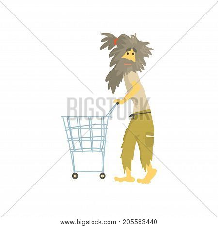 Dirty homeless man character pushing empty shopping cart, unemployment male beggar needing help vector illustration isolated on a white background
