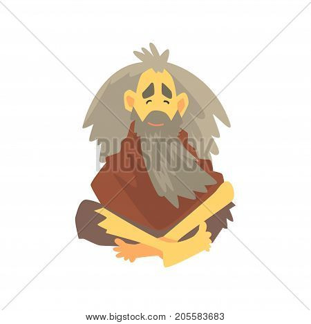 Homeless man character in dirty rags sitting on the street, unemployment person needing help vector illustration isolated on a white background