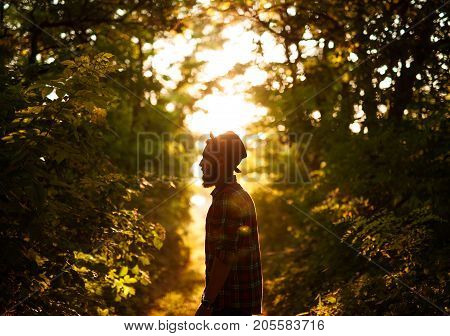 Side view of bearded stylish man walking in forest in the evening.