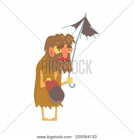Homeless man character in dirty rags standing on the street with umbrella and cap for money, unemployment male beggar needing help vector illustration isolated on a white background