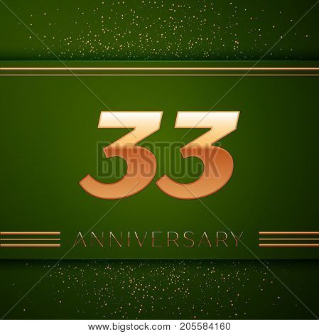 Realistic Thirty three Years Anniversary Celebration Logotype. Golden numbers and golden confetti on green background. Colorful Vector template elements for your birthday party