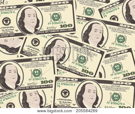Close up view of American hundred dollar bills. Money background for your business concept. Suitable for wallpaper, backdrop, as element of design. Vector illustration of USA currency. Horizontal.