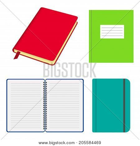 Set Of Opened And Closed Notebooks And Copybooks With Colored Covers. Notebook With Elastic Strap, W