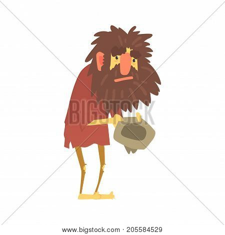 Homeless man character in dirty rags sitting on the street with hat for money, unemployment person needing help vector illustration isolated on a white background poster