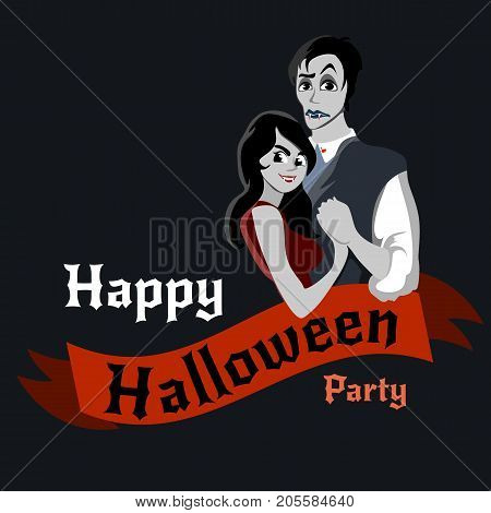 halloween gothic party with vampire couple, fun background for horror invitation on vamp cosplay, dracula teeth and fangs on vector flyer, white man and woman nightlife poster or banner illustration.