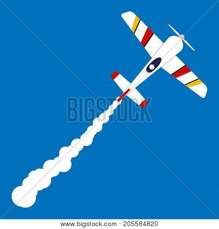 Little Private Sport Plane In The Sky And A White Trail Behind It. Cartoon Airplane Shoots Up Into T