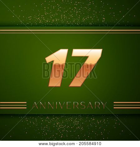 Realistic Seventeen Years Anniversary Celebration Logotype. Golden numbers and golden confetti on green background. Colorful Vector template elements for your birthday party