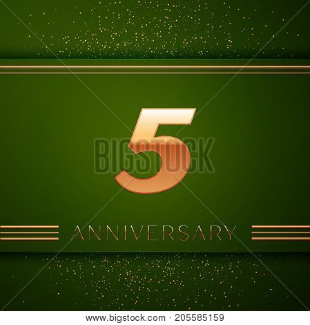 Realistic Five Years Anniversary Celebration Logotype. Golden numbers and golden confetti on green background. Colorful Vector template elements for your birthday party