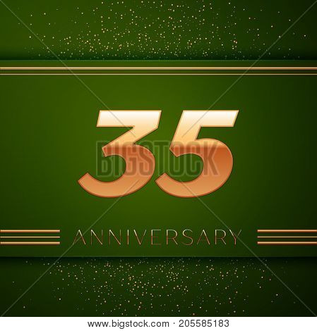 Realistic Thirty five Years Anniversary Celebration Logotype. Golden numbers and golden confetti on green background. Colorful Vector template elements for your birthday party