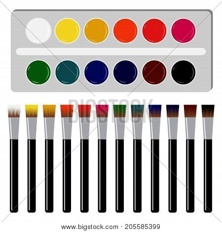 Watercolors And Paintbrush. Back To School Vector Illustration On White Background. 12 Colors Of Pai