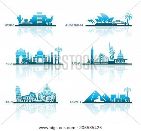 Abstract landscape and architectural symbols of various countries