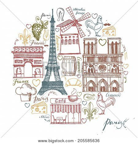 Sketches traditional symbols of the French architecture, culture, kitchen