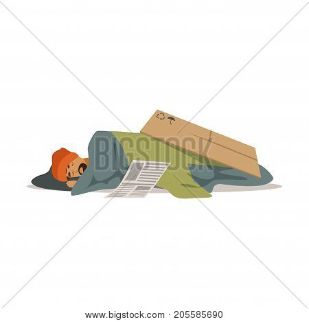 Homeless man character sleeping on the street, unemployment man needing help vector illustration isolated on a white background