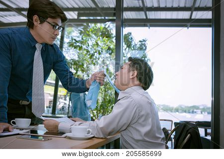 Businessman Fighting And Disagree About Business Marketing In Room Background