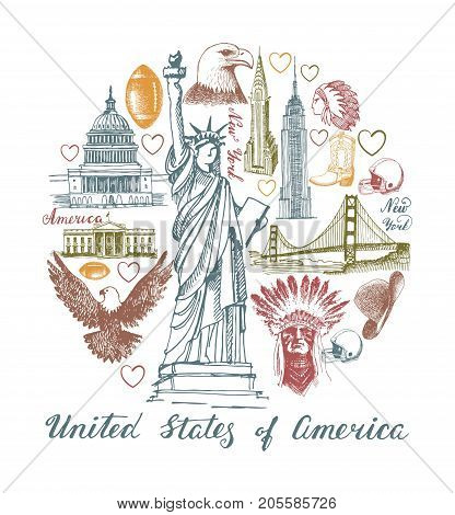 Sketches of architectural and historical symbol of the United States in the form of a circle