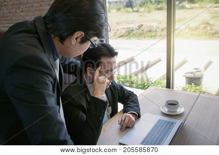 Businessman Coaching With Boss And Discussion Thinking For Working On Notebook, Working Together As