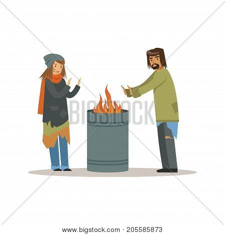 Homeless men and woman warming themselves near the fire, unemployment people needing help vector illustration isolated on a white background