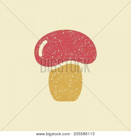 Icon of a mushroom. Stylized drawing with colored pencils